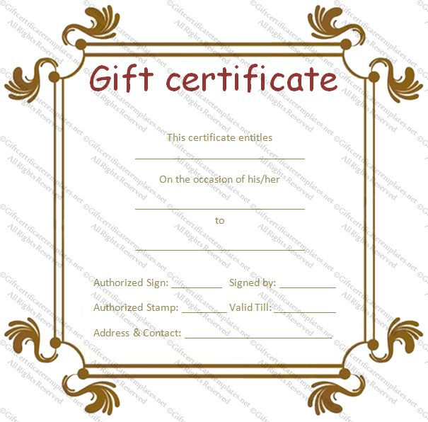 Business Gift Certificate Templates - Gift Certificates