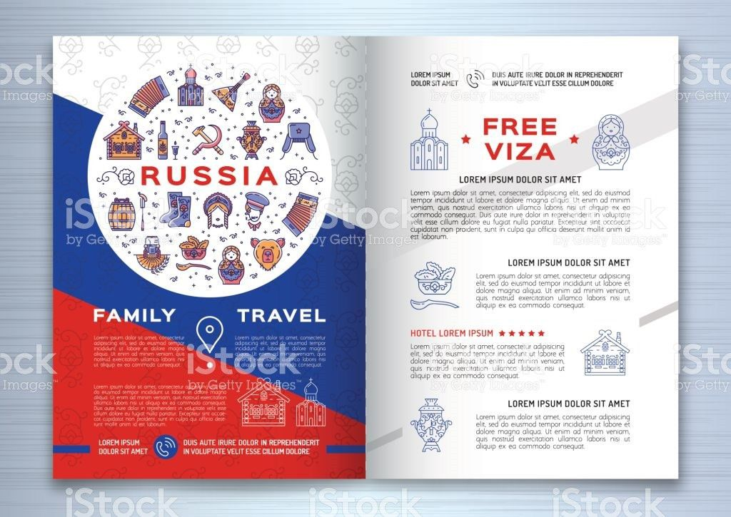 Russian Travel Brochure Template Colorful Russian Icons On A Flag ...
