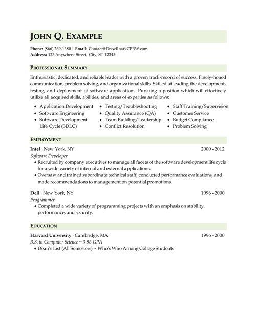 Professional, Executive & Military Resume Samples by Drew Roark, CPRW