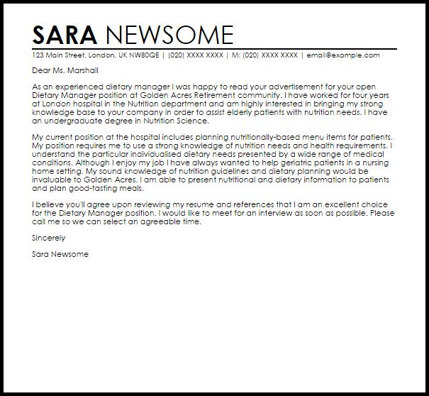 cover letter intership nutrition and dietetics internship cover ...