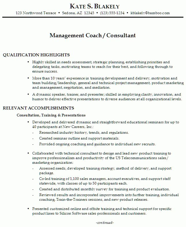 Resume for a Management Coach/Consultant - Susan Ireland Resumes