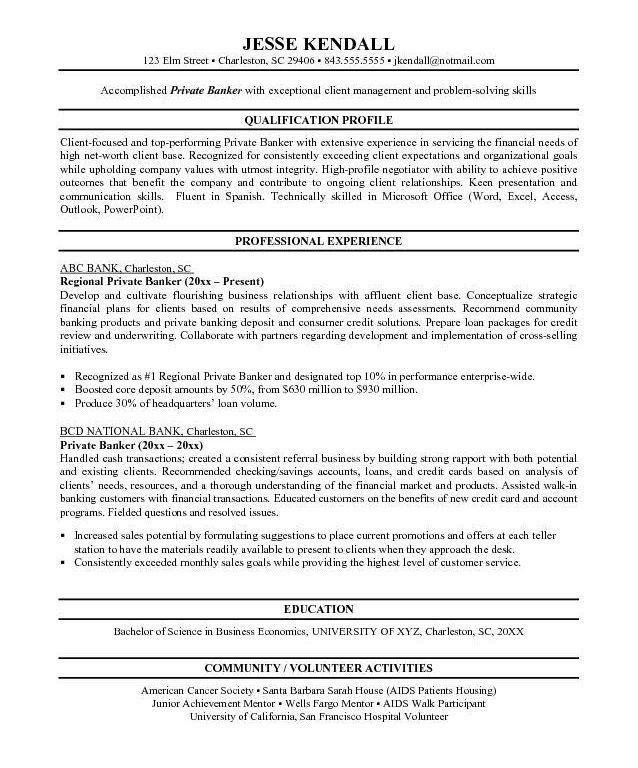 professional bangking resume samples personal bangker resume ...