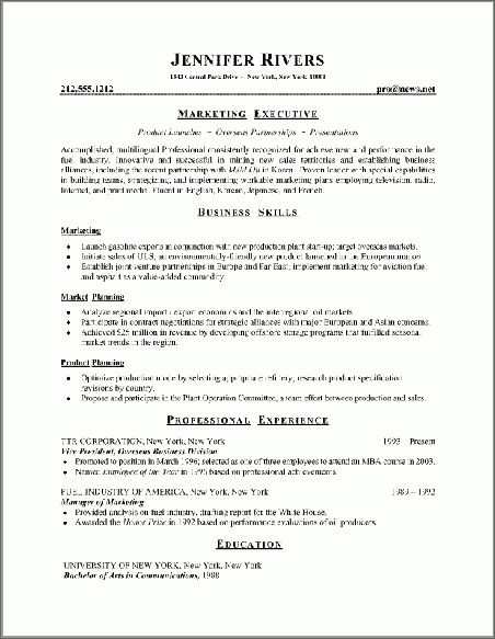 Functional Resumes Styles Examples - Resume Templates
