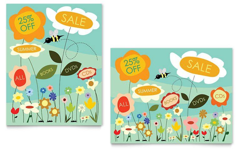 Spring & Summer Flowers Sale Poster Template - Word & Publisher