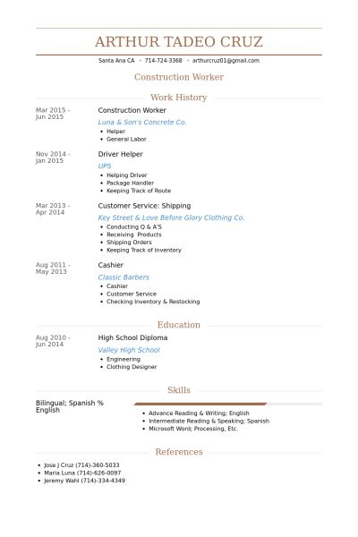 Construction Worker Resume samples - VisualCV resume samples database