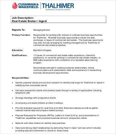 Realtor Job Description. Real Estate Agent Job Description Pdf ...