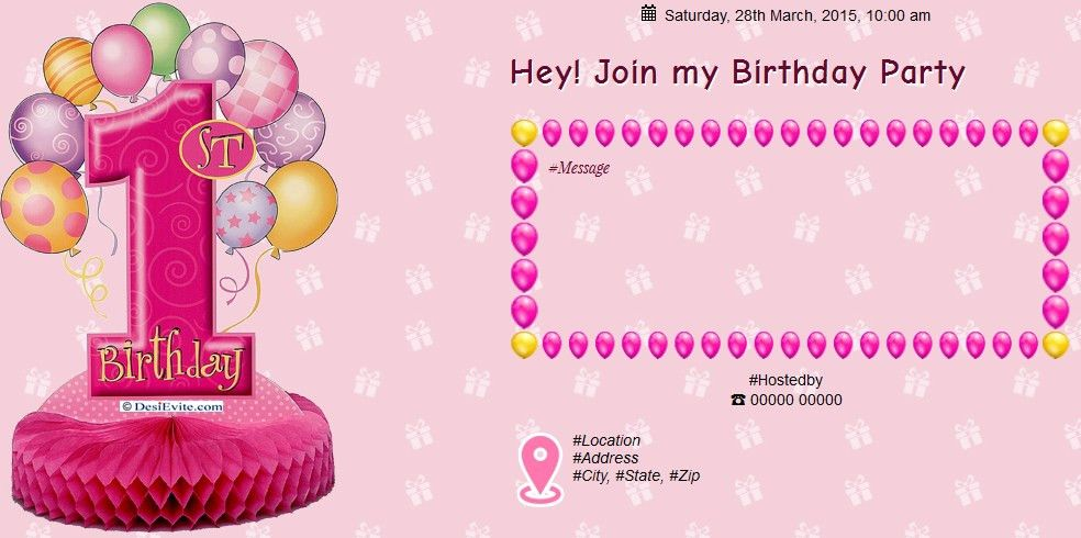 Free 1st Birthday Invitation Card & Online Invitations