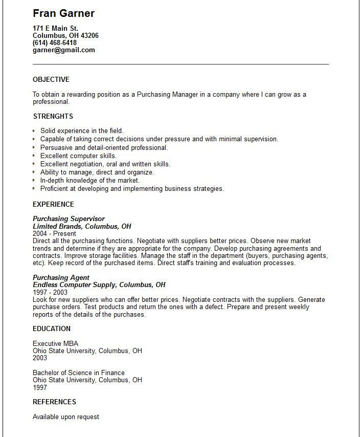 Purchasing manager Resume Example - Free templates collection