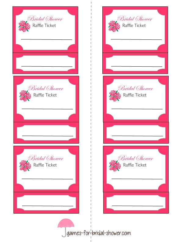 free printable bridal shower raffle tickets | Bridal Shower Games ...