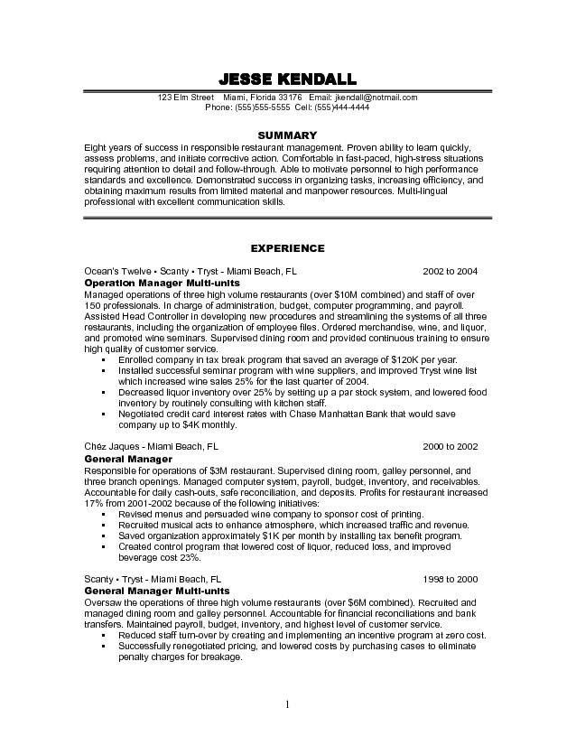 manager resume example free restaurant management resume sample ...