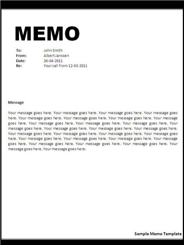 Free Printable Professional Word Memo Template for Business ...