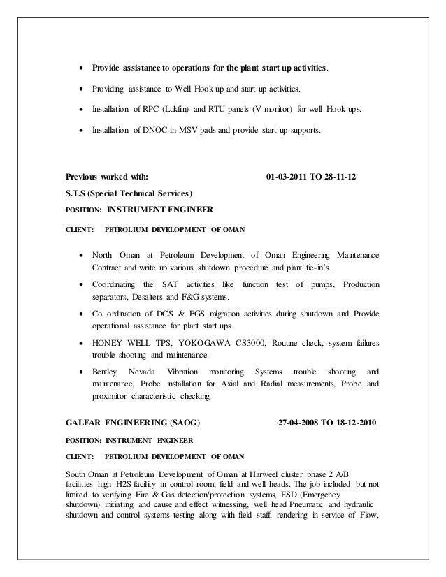 cv Instrument Commissioning Engineer