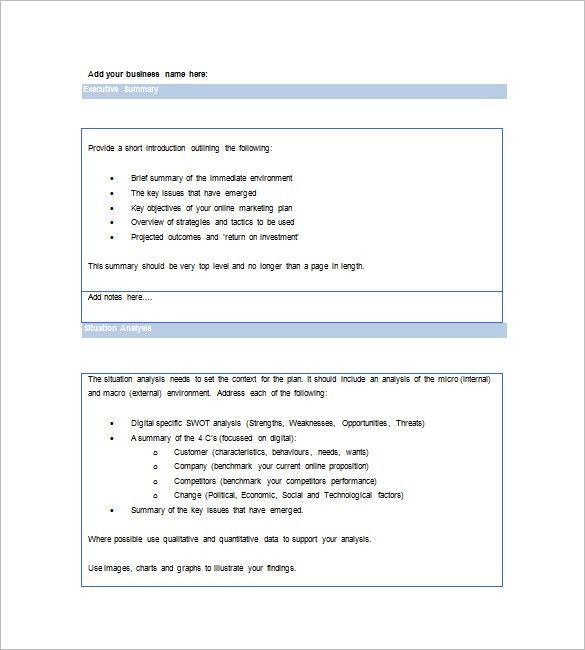 Marketing Plan Executive Summary Template – 10+ Free Sample ...
