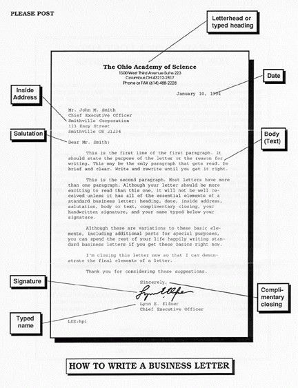 Parts Of A Business Letter | | How to Format a Cover Letter