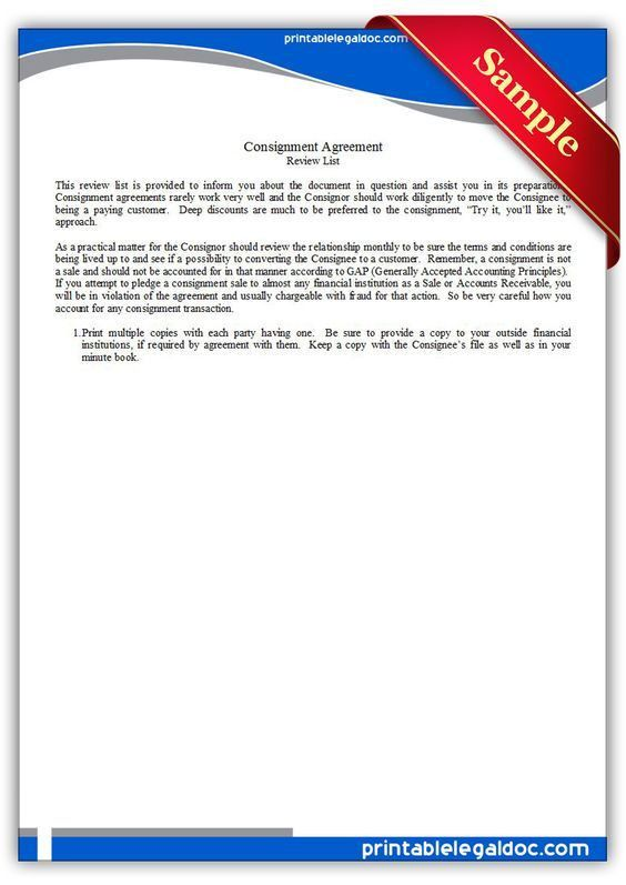 Free Printable Consignment Agreement Legal Forms | Free Legal ...