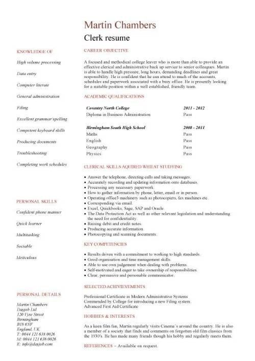 Resume no work experience template