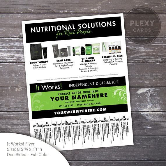 Black & Green ItWorks Flyer With Tear Off Tabs Digital File