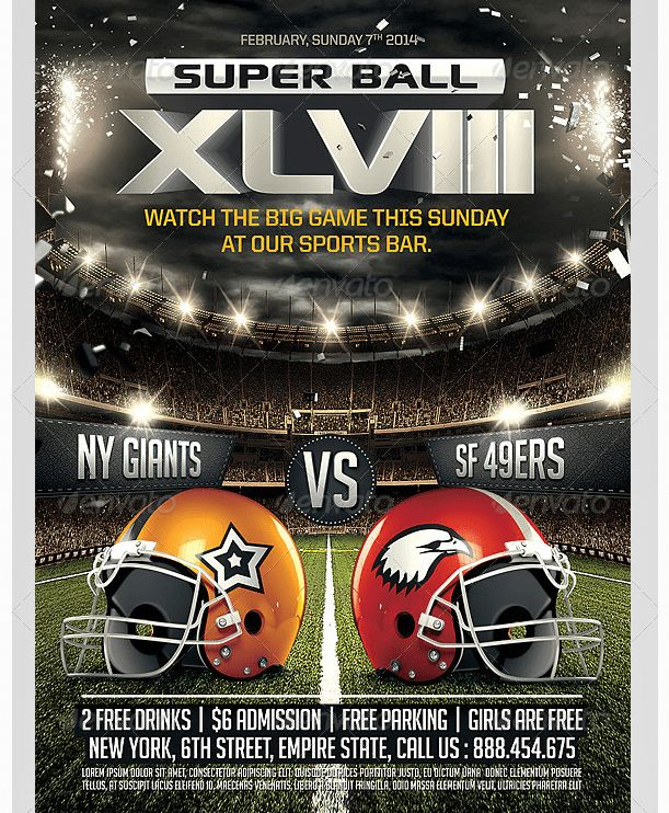 Super Ball Football Flyer Template - Party Flyer Templates For ...