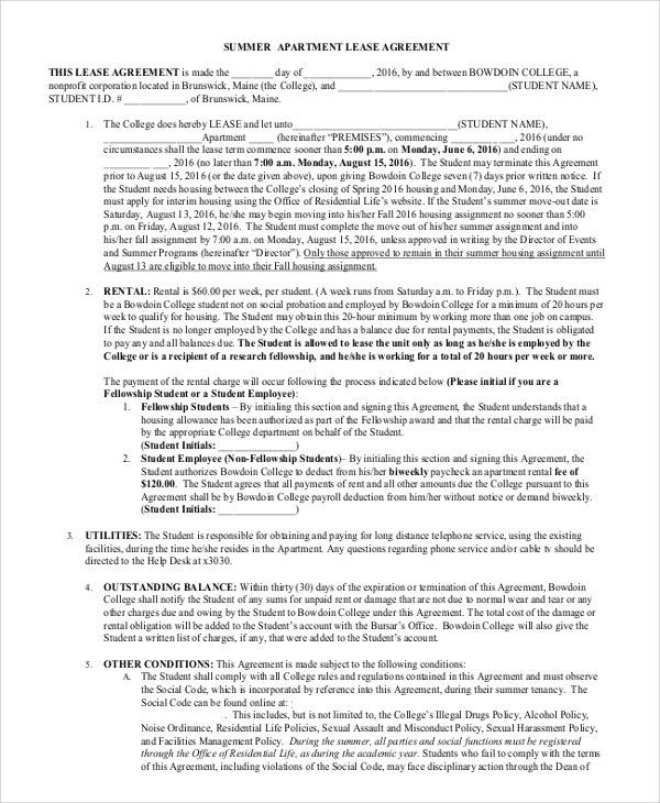Sample Apartment Lease Agreement   8+ Examples In Word, PDF