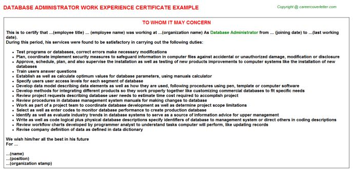 Database Administrator Work Experience Letters