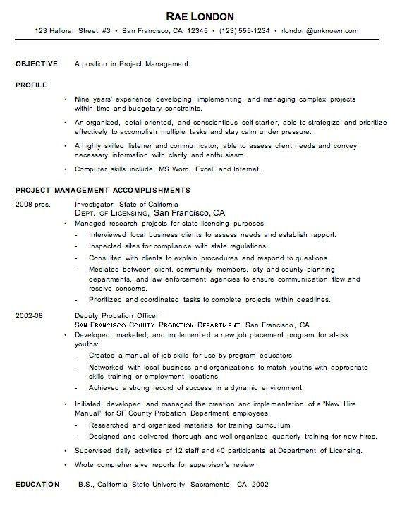 Example Management Resume pertaining to Management Resume ...