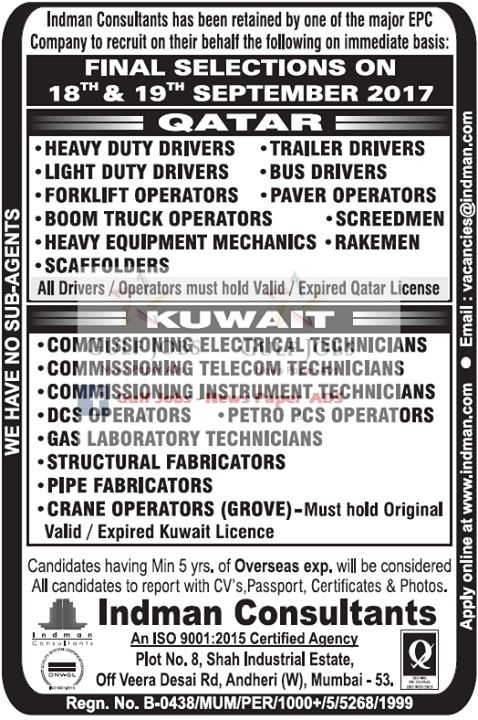 Gulf Jobs News Classifieds 2017-09-16 09:26:00 - JobsChip