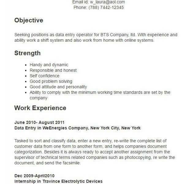 Data Entry Operator Sample Resume | haadyaooverbayresort.com