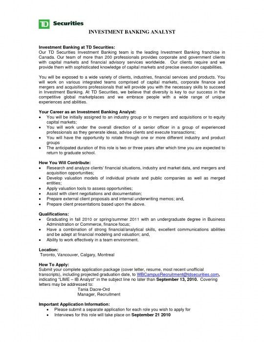 The Most Amazing Investment Banking Analyst Resume | Resume Format Web