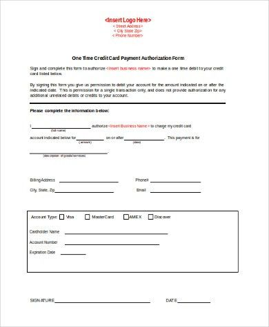 Credit Card Authorization Form Samples - 10+ Free Documents in ...