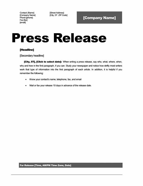 Press release (Professional design) - Office Templates