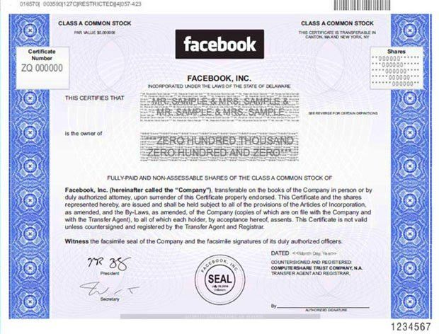 Facebook Stock Certificate Can Be Framed & Physically Owned After ...