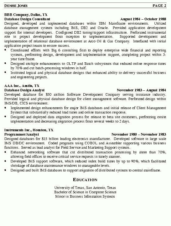 sample database administrator resume database administrator