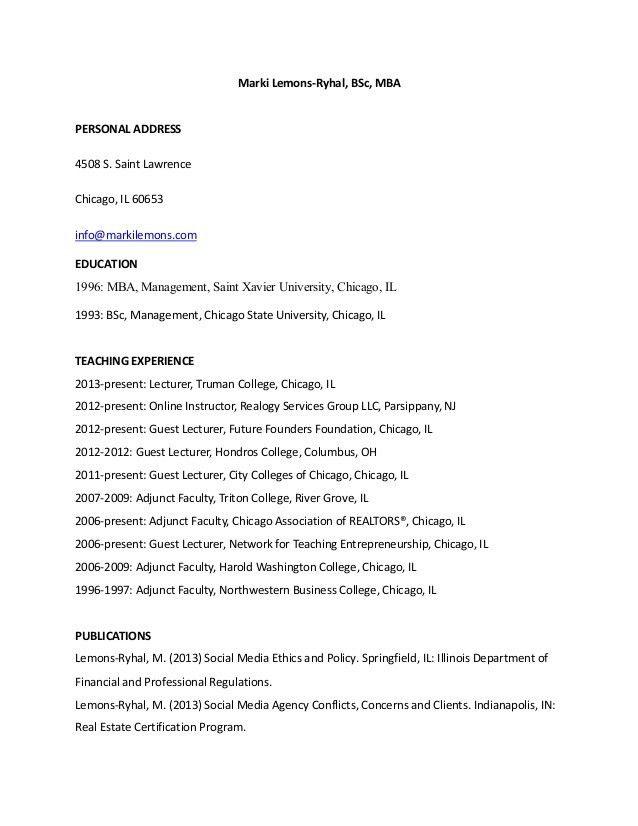 2014 Adjunct Faculty Resume of Marki Lemons Ryhal