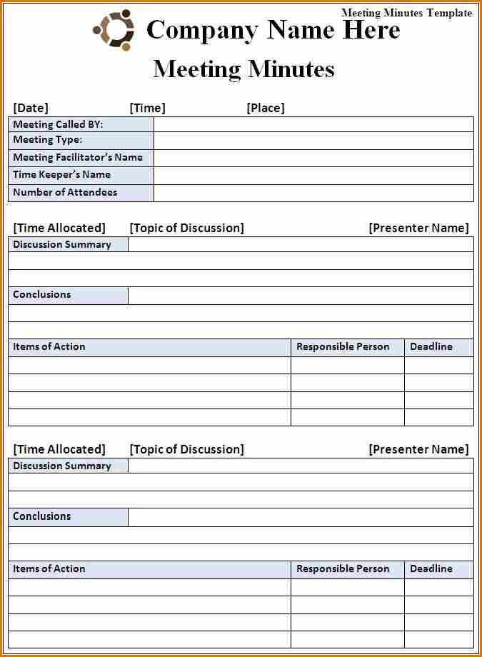 8+ meeting minutes template free | Job Resumes Word