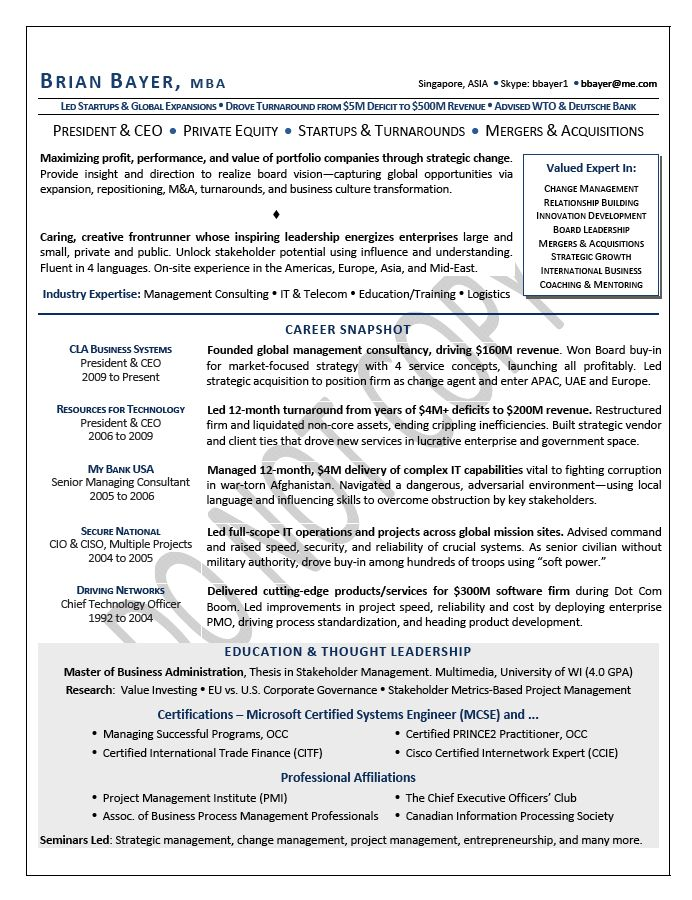CEO / Chief Executive Officer Resume Samples | Mary Elizabeth ...
