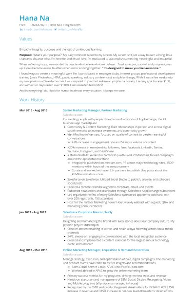 Senior Marketing Manager Resume samples - VisualCV resume samples ...