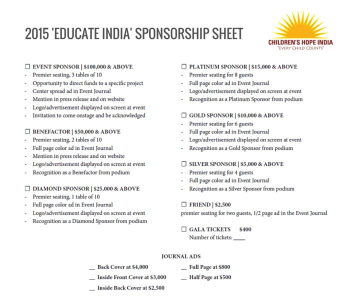 2015 Gala Sponsorship - Children's Hope India