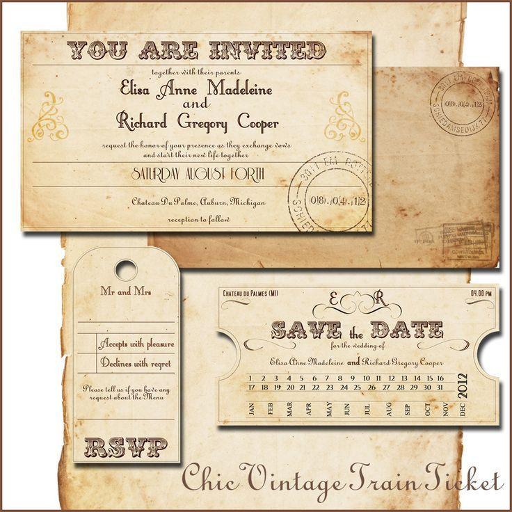 17 best Wedding: Invitations images on Pinterest | Train tickets ...