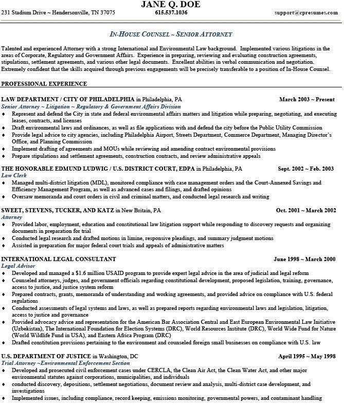 Associate Attorney Resume - formats.csat.co
