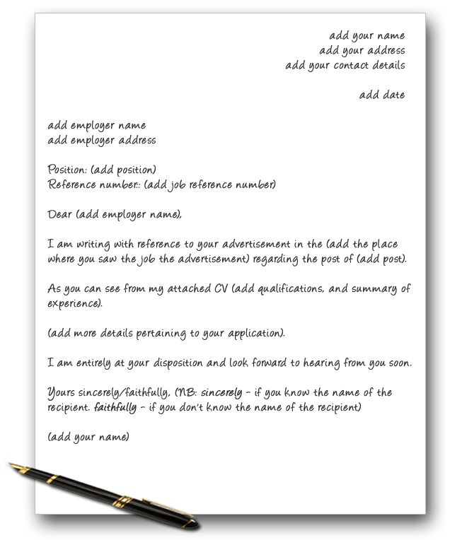 cover letter template lists and also advice on how to write a ...