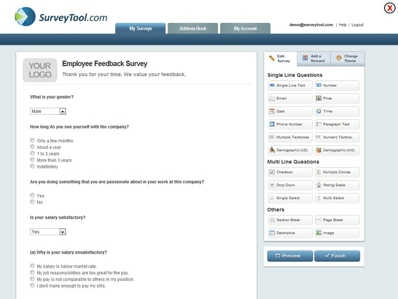 Questionnaire Template - Browse surveytool.com For Questionnaire ...