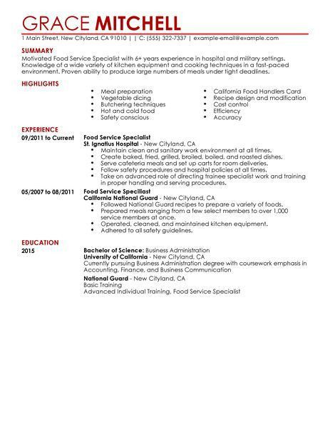 Food Service Resume - uxhandy.com