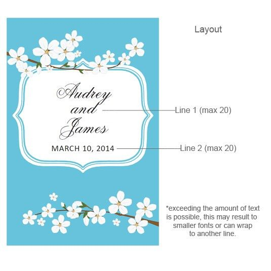 Cherry Blossom Personalized Wine Label - 8 pcs - Asian Theme ...