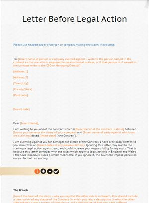 Letter before Action Template from LawBite
