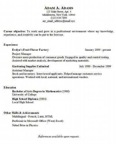Example Resume For Job. Cv Great Sample Cv Sample Resume And ...