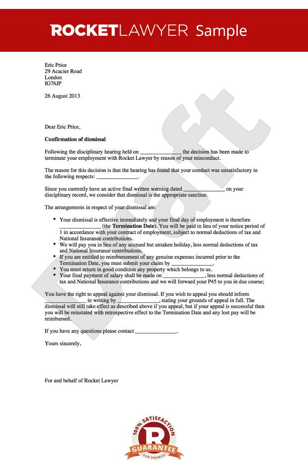 Letter for Misconduct Sample - Dismissing Employee After Warning