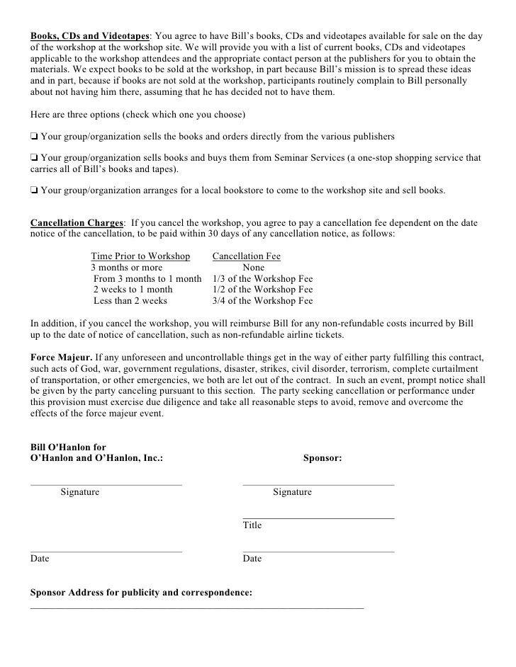 Sample Speaking Contract