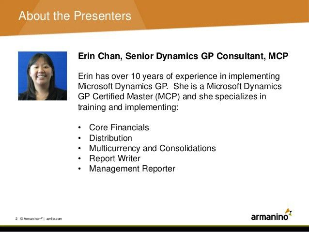 Microsoft Dynamics GP Year End Close - Armanino Webinar Presentation