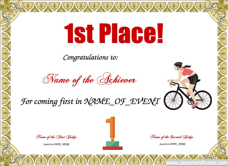 1st Place. Free Certificate templates for kids, sport and ...