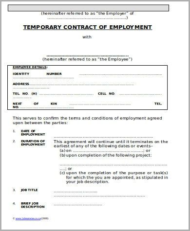 Temporary Employment Contract Sample - 9+ Examples in Word, PDF